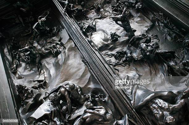 A detail from the 'Gates of Hell' a sculpture by Auguste Rodin is seen on display at an exhibition at the Royal Academy in central London UK on...