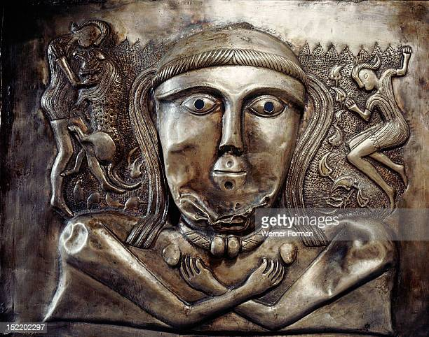 Detail from the Gundestrup cauldron Shows a goddess/earth mother Generally thought to be of Celtic origin brought to Denmark as plunder Celtic found...