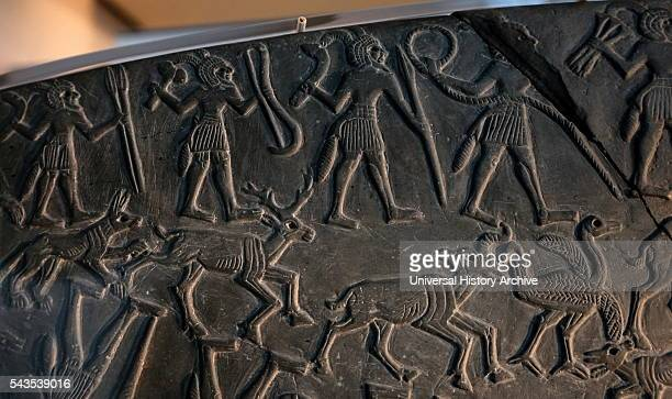 Detail from the Hunter's Palette an Ancient Egyptian cosmetic palette showing a complex iconographic lion hunt Dated 3100 BC