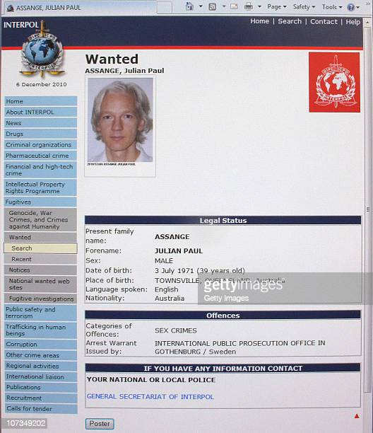 A detail from the Interpol website showing the appeal for the arrest of the editorinchief of the Wikileaks whistleblowing website Julian Assange on...