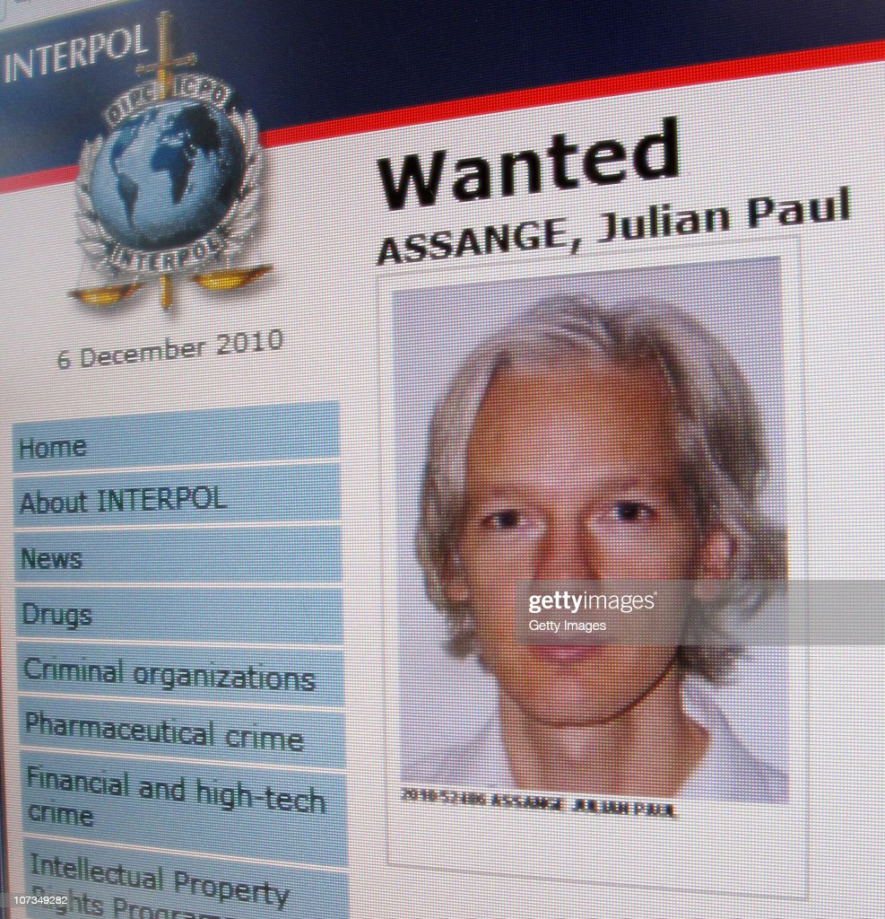 A detail from the Interpol website showing the appeal for the arrest of the editor-in-chief of the Wikileaks whistleblowing website, Julian Assange on December 6, 2010. Assange who has spearheaded the release of thousands of sensitive diplomatic cables through Wikileaks is wanted in Sweden on rape charges against two women, and is currently in hiding.