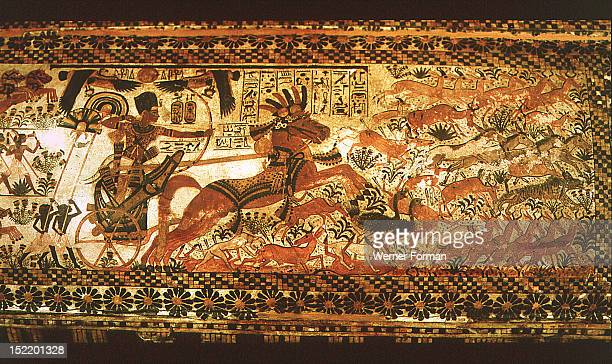 Detail from the lid of the chest of Tutankhamun The king in his chariot hunts ostriches antelopes hyenas and other desert animals Egypt Ancient...