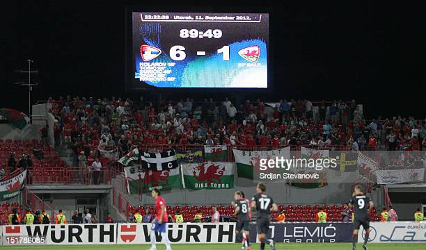 detail from the match Serbia won the match against Wales 61 during the FIFA 2014 World Cup Qualifier at stadium Karadjordje Park between Scerbia and...