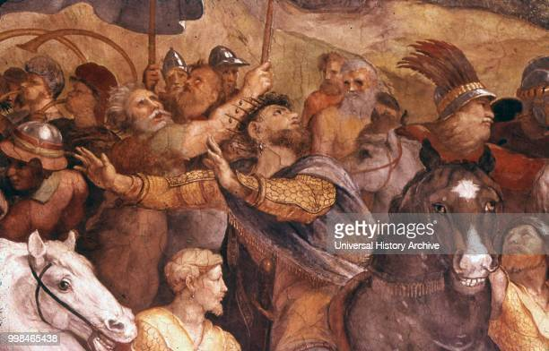 Detail from 'The Meeting of Leo the Great and Attila' 1514 Fresco in the Apostolic Palace Vatican City by the Italian Renaissance artist Raphael and...