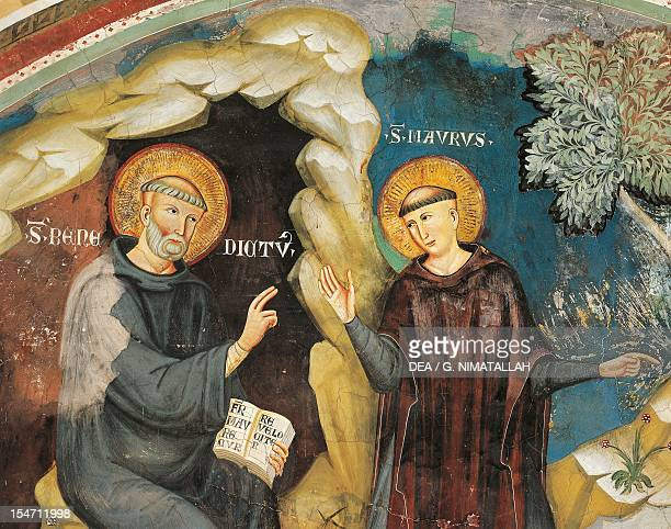 Detail from the Miracle of the Rescue of St Placidus 13th century fresco attributed tol the First Assistant of Consolo or Magister Consolus The Lower...