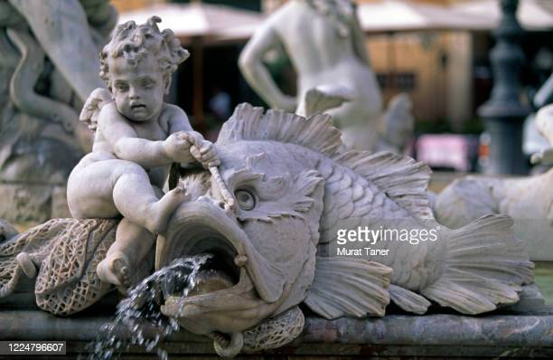 detail from the neptune fountain in rome - neptune roman god stock pictures, royalty-free photos & images
