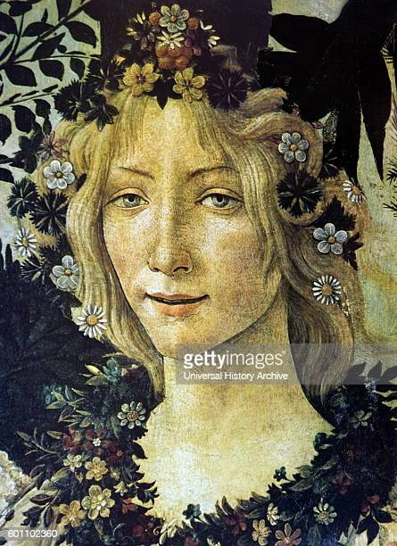 Detail from the painting 'Primavera' depicting the Goddess Flora by Sandro Botticelli an Italian painter of the Early Renaissance Dated 15th Century