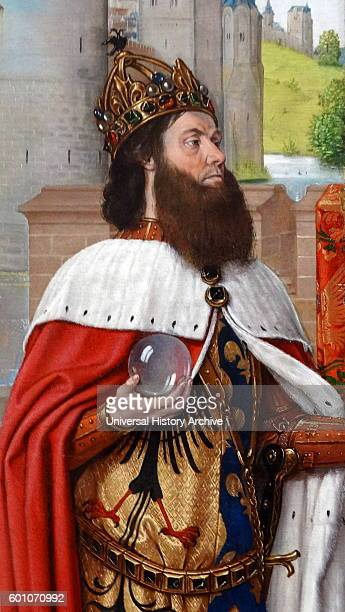 Detail from the painting titled 'Charlemagne and the Meeting at the Golden Gate' by Jean Hey an Early Netherlandish painter Dated 15th Century