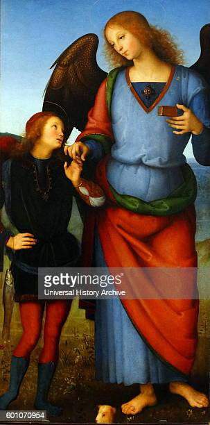 Detail from the painting titled 'The Virgin and Child with an Angel the Archangel Raphael with Tobias and the Archangel Michael' by Pietro Perugino...