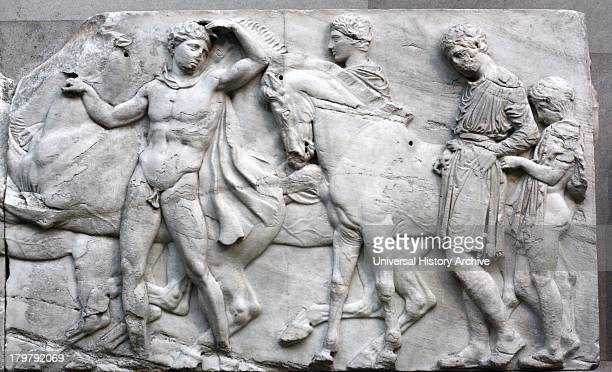 Detail from the Parthenon Frieze Greek marble sculpture made between 443438 BC The full frieze shows a narrative procession of men women horses