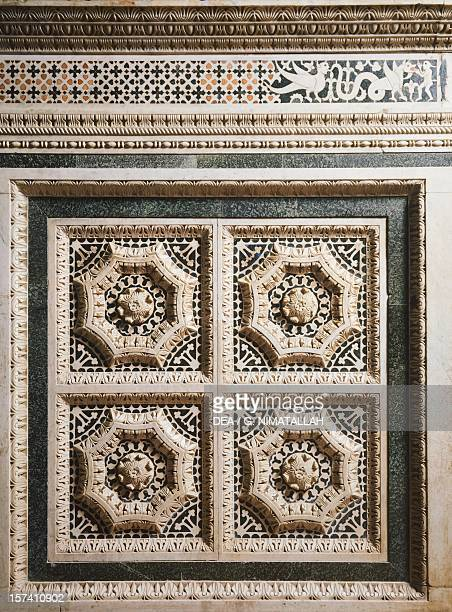 Detail from the presbytery decorated with inlays and reliefs, San Miniato al Monte , Florence. Italy, 10th-15th century.