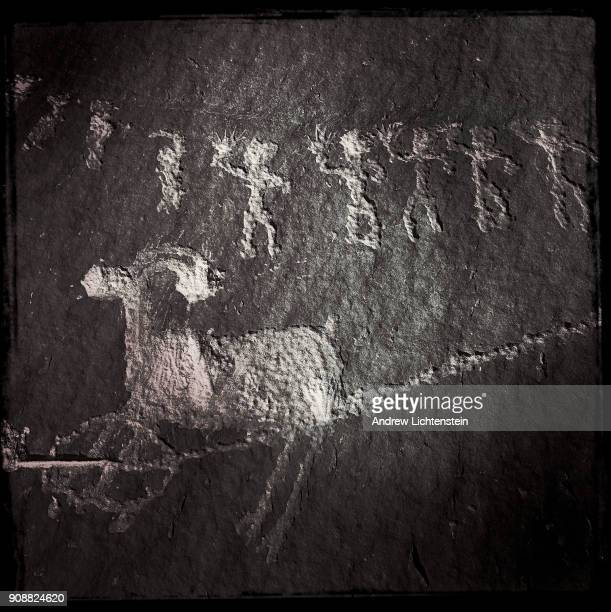 A detail from the Procession Panel a 900 year old petroglyph decorates a canyon wall above Butler's Wash in Bear Ears National Monument on December...
