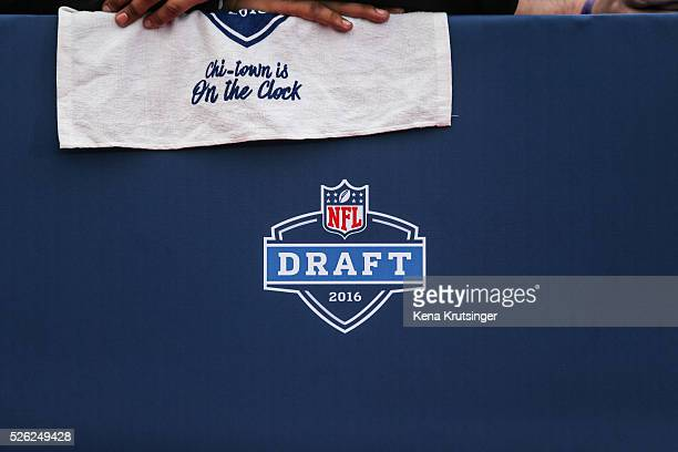 A detail from the red carpet prior to the start of the 2016 NFL Draft on April 28 2016 in Chicago Illinois