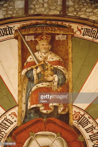 A detail from the round table in Winchester Great Hall shows King Arthur The table was constructed in the 13th century and painted in its present...