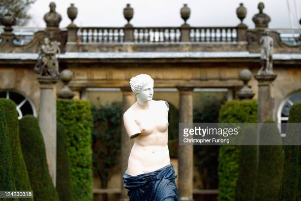A detail from the sculpture entitled Les Menottes de Cuivre by Rene Magritte in the gardens of Chatsworth House on September 9 2011 in Chatsworth...