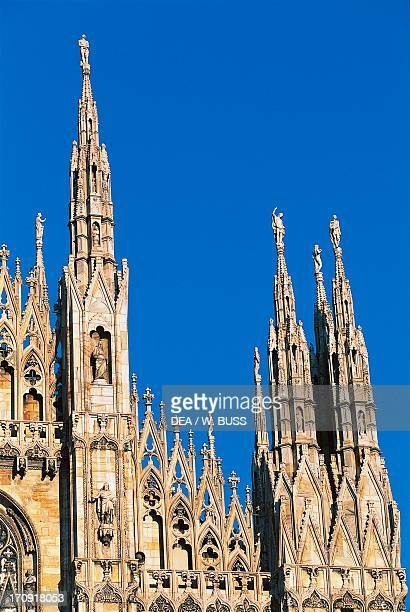 Detail from the spiers of Milan Cathedral Lombardy Italy