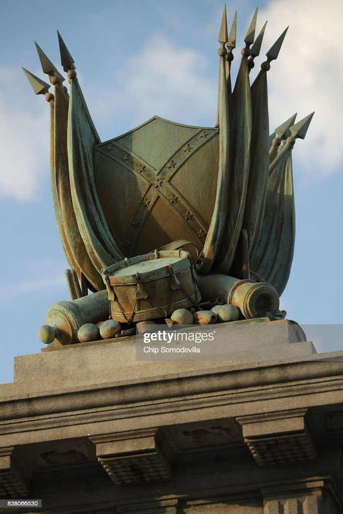A detail from the statue of Confederate President Jefferson Davis, unveild in 1907, stands in the middle of Monument Avenue August 23, 2017 in Richmond, Virginia. Richmond Mayor Levar Stoney's Monument Avenue Commission -- composed of academics, historians and community leaders --will include an examination of the removal or relocation of some or all of the city's Confederate statues, which depict Civil War Gens. Robert E. Lee, J.E.B. Stuart and Stonewall Jackson; President of the Confederacy Jefferson Davis; and Confederate naval commander Matthew Fontaine Maury.