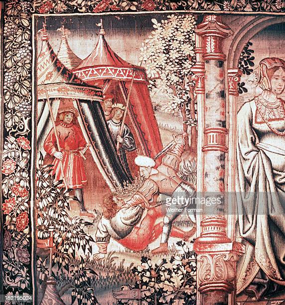 Detail from the tapestry Bouche dOr becomes the vassal of Amour from the series The Romaunt of the Rose Based on the homonymous poem it tells of a...