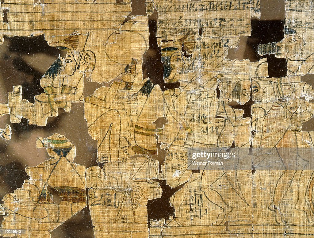 A detail from the Turin Papyrus which depicts scenes of prostitutes, their clients and various love making positions : Fotografía de noticias