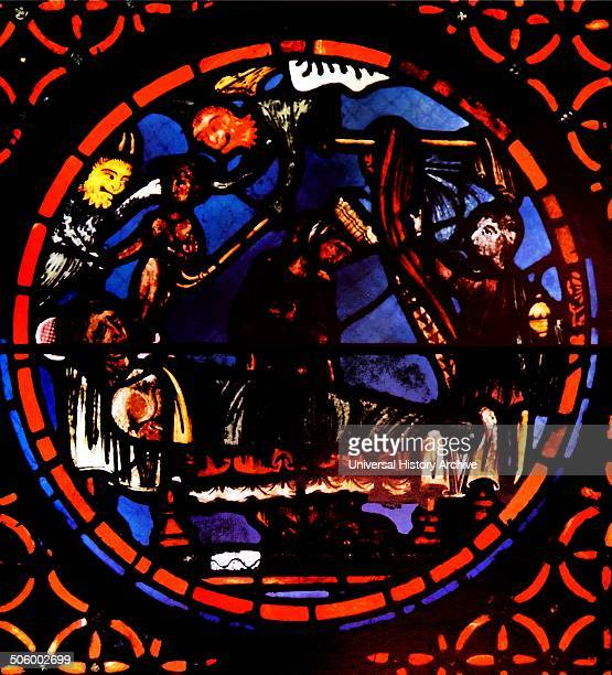 Detail from the window of the apse are arranged in pairs and connected by symbolic analogies Known as the window of the Apocalypse annoucing the end...