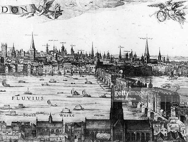 1616 Detail from Vischer's Panorama of London showing London Bridge The north bank of the river is in the background and Southwark in the foreground