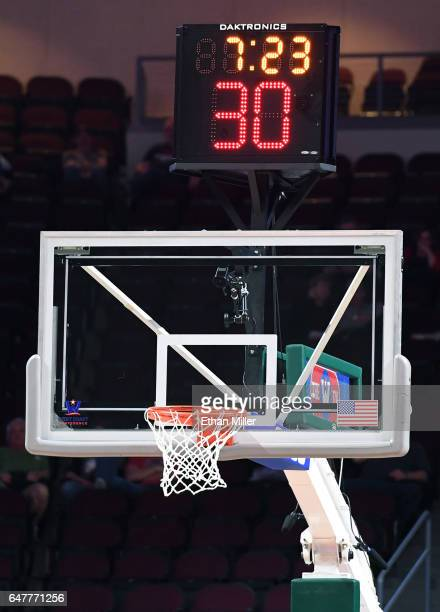 A detail image of a backboard shot clock and game clock are shown during a firstround game of the West Coast Conference Basketball Tournament between...