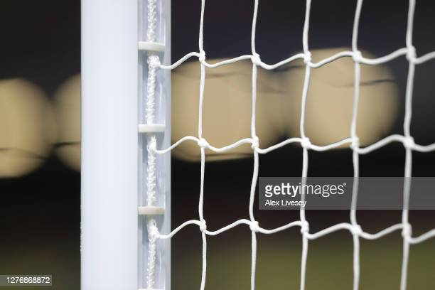A detail image of a goal net is seen prior to the Premier League match between Burnley and Southampton at Turf Moor on September 26 2020 in Burnley...