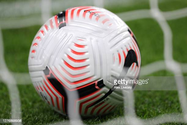 A detail image of a match ball is seen prior to the Premier League match between Burnley and Southampton at Turf Moor on September 26 2020 in Burnley...
