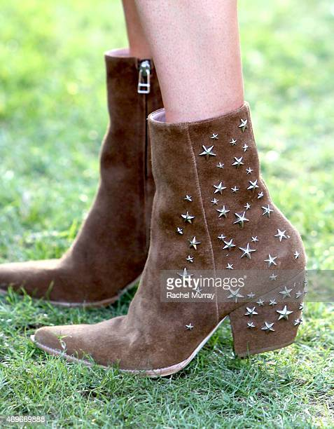 A detail image of Kate Bosworth's boots that she designed for her new shoe line Matisse attends the 2015 Coachella Valley Music and Arts Festival...
