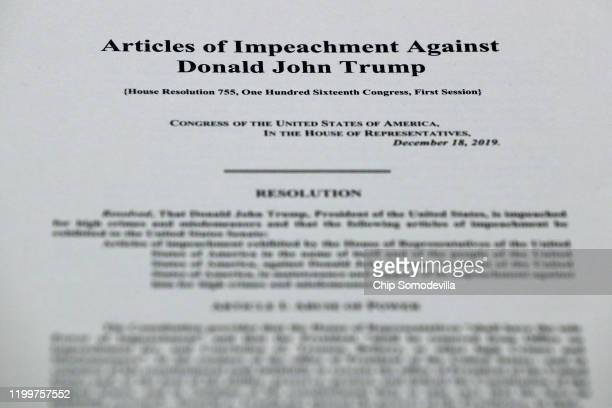 A detail image of the articles of impeachment against President Donald Trump before an engrossment ceremony in the Rayburn Room at the US Capitol...