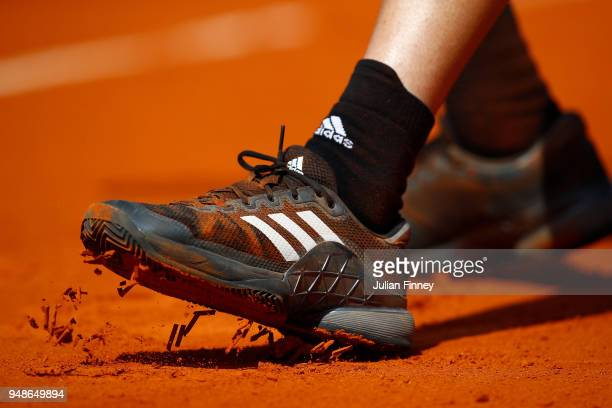 A detail image of the clay court on day five of the Rolex MonteCarlo Masters at MonteCarlo Sporting Club on April 19 2018 in MonteCarlo Monaco