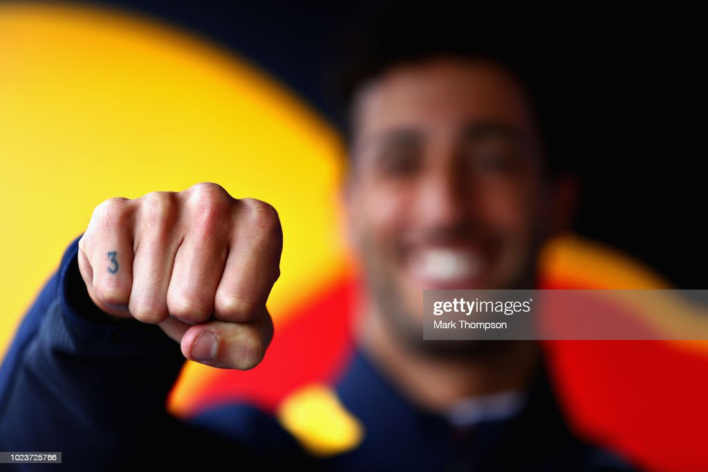 A detail image of the number 3 tattoo on the finger of Daniel Ricciardo of Australia and Red Bull Racing before the Formula One Grand Prix of Belgium at Circuit de Spa-Francorchamps on August 26, 2018 in Spa, Belgium.