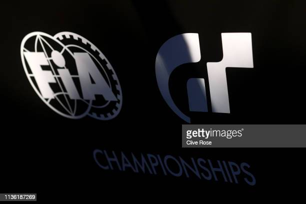 A detail image of the series logos during the Gran Turismo Sport FIA 2019 World Tour event at Pavillon Gabriel on March 16 2019 in Paris France