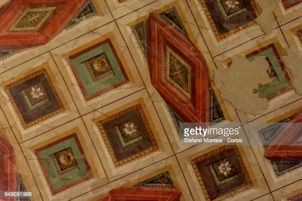 A detail in the ceiling of the house of Augustus on the Palatino Hill in the Ancient Roman Forum on April 20 2018 in Rome Italy Presented to the...