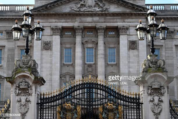Detail is pictured outside Buckingham Palace in London on January 10, 2020. - Prince Harry's wife Meghan has returned to Canada following the...