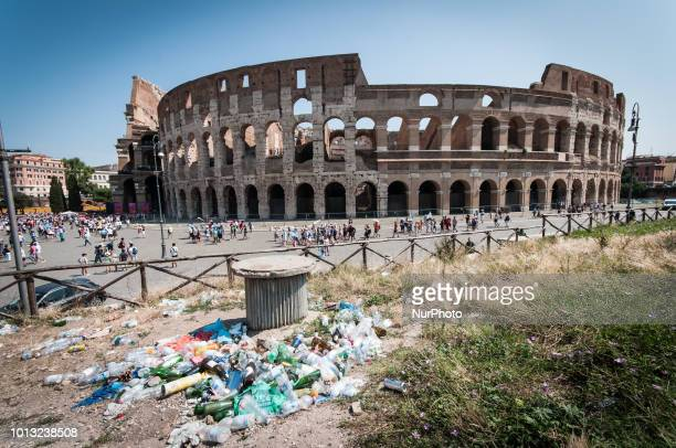 A detail near the Colosseum a green space used as a garbage dump photo taken in today's dadaon August 8 2018 in Rome Italy