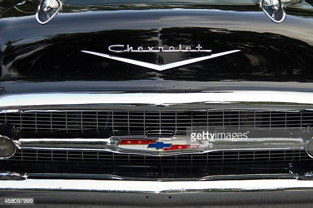 detail of 1950`s chevrolet car - chevrolet stock pictures, royalty-free photos & images