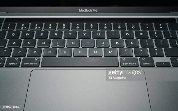 Detail of a 13-inch Apple MacBook Pro laptop computer , taken on January 20, 2021.