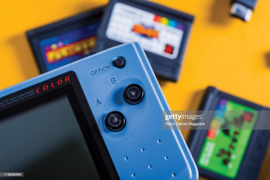 Detail of a 1999 SNK Neo Geo Pocket Color handheld video game
