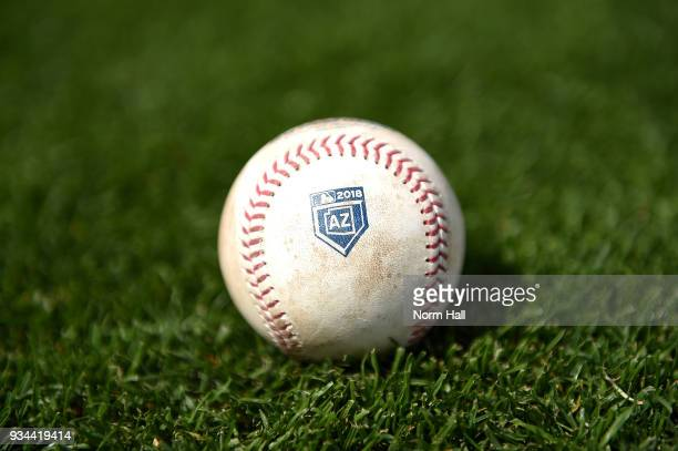 A detail of a 2018 Arizona Spring Training baseball prior to a spring training game between the Seattle Mariners and the Texas Rangers at Surprise...