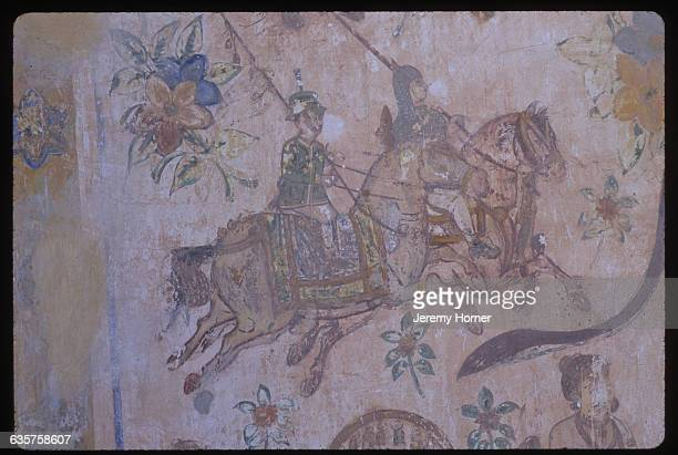 Detail of a 20th century wall painting at Meherangarh Fort in Jodhpur India