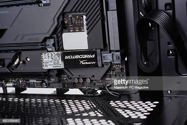 Detail of a 480GB HyperX Predator PCIe SSD inside a custombuilt gaming PC taken on June 9 2016