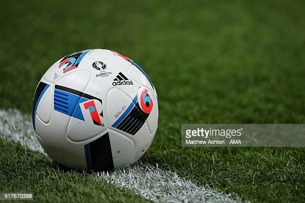 Detail of a Adidas Beau Jeu the official match ball for the Euro 2016 tournament held in France during the International Friendly match between...