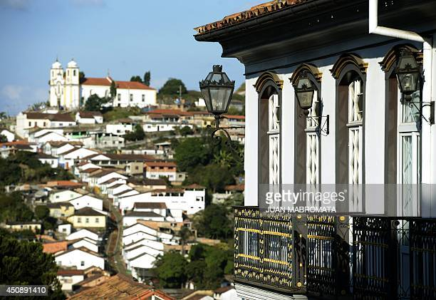 Detail of a balcony of a colonial house at Ouro Preto in Minas Gerais Brazil on June 19 2014 Ouro Preto originally called Vila Rica was the focal...