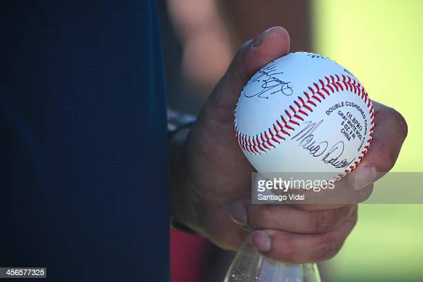 Detail of a ball signed by World Series Champion & MVP David Ortiz during the David Ortiz 6th Celebrity Golf Classic at Punta Espada Golf Club on...