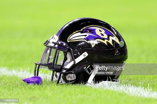 Detail of a Baltimore Ravens helmet before the AFC Divisional Playoff game between the Baltimore Ravens and the Tennessee Titans at M&T Bank Stadium...