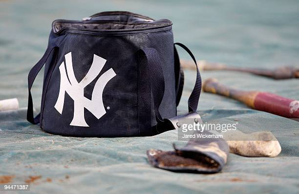 A detail of a baseball bagwith a Tankee logo is seen during batting practice prior to Game One of the 2009 MLB World Series between the New York...