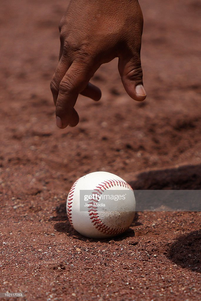 Detail of a baseball ball during a 2010 Liga Mexicana de Beisebol match between Mexico Diablo Rojos and Acereros de Monclava at end of serie at the Foro Sol Stadium on June 13, 2010 in Mexico City, Mexico.