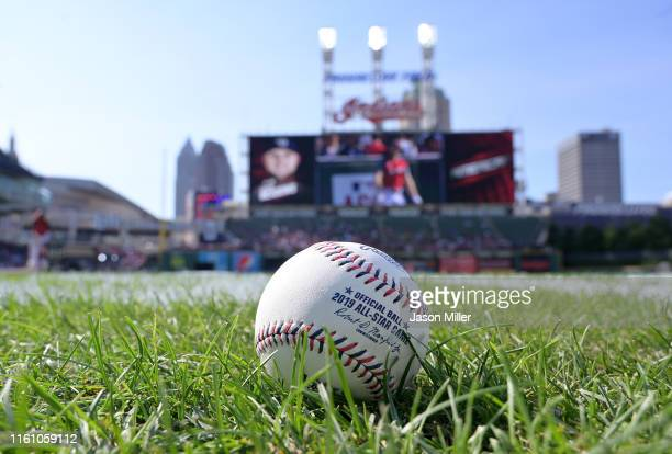 A detail of a baseball during batting practice prior to the 2019 MLB AllStar Game presented by Mastercard at Progressive Field on July 09 2019 in...