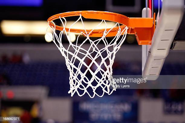 Detail of a basket hoop, net and backboard as the Duke Blue Devils play against the Louisville Cardinals during the Midwest Regional Final round of...